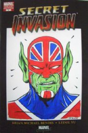 Secret Invasion #1 Convention Variant Captain Britain Skrull Head Sketch Signed Golding
